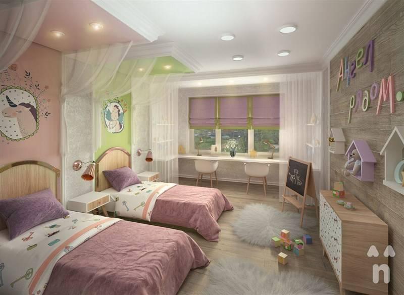 Детская комната для двоих: интерьер с рабочей зоной школьников, кровати в маленькой комнате, идеи дизайна для детей разного возраста  - 36 фото