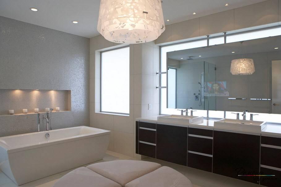 Освещение в ванной комнате – расчет количества светильников и правила их размещения - 14 фото