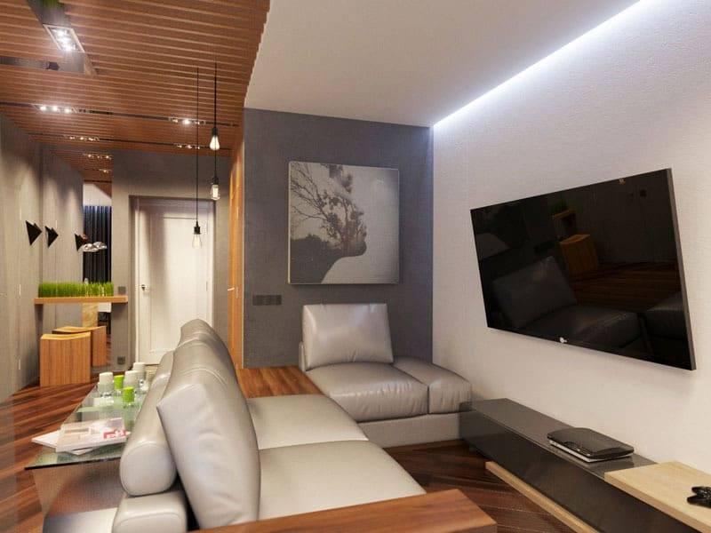 Модный мужской интерьер 2020-2021, дизайн комнаты холостяка, интерьер спальни и гостиной для мужчины