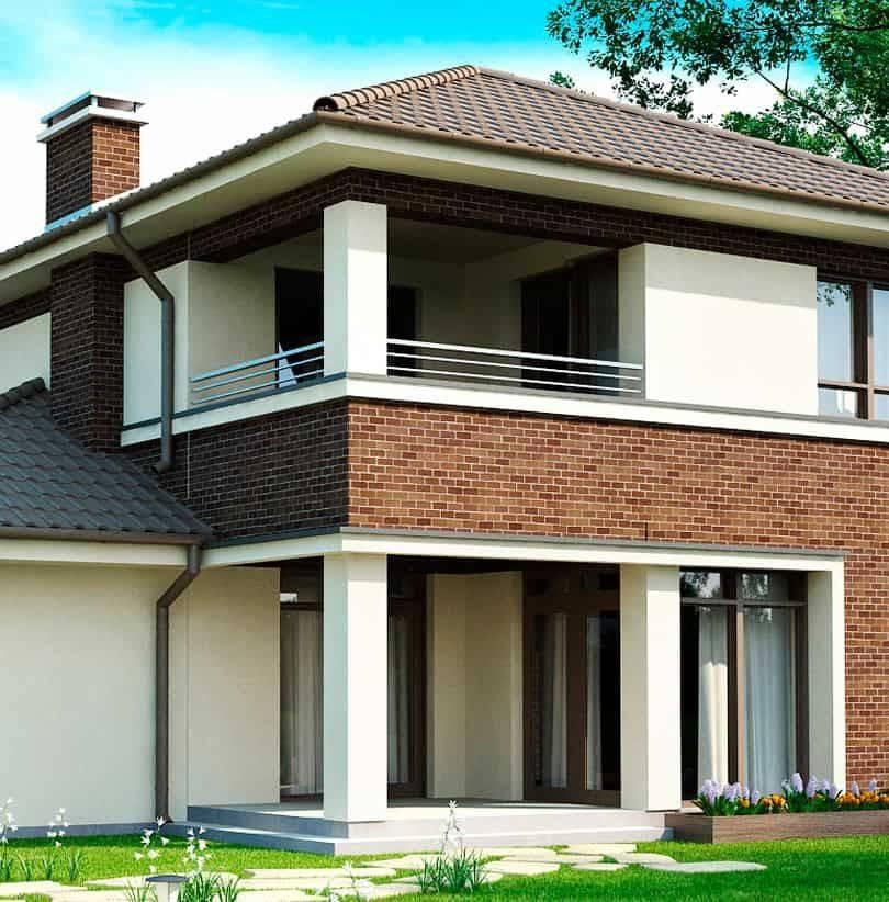 Дома в современном стиле: фасады из облицовочного кирпича разного цвета, красивый дизайн  - 47 фото