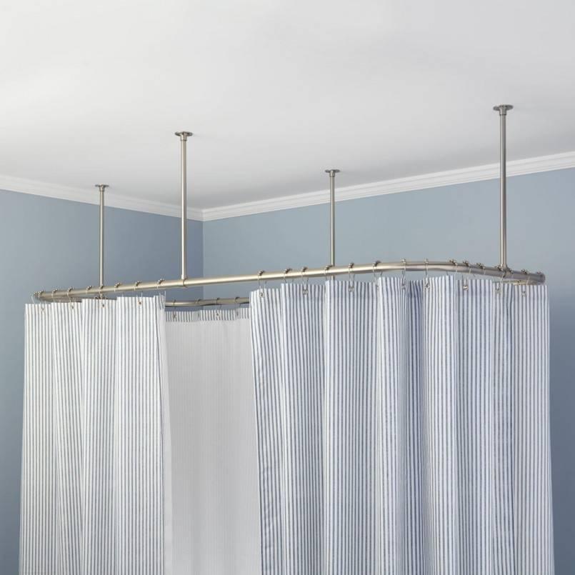 Карниз для шторы в ванную: установка углового и обычного вариантов