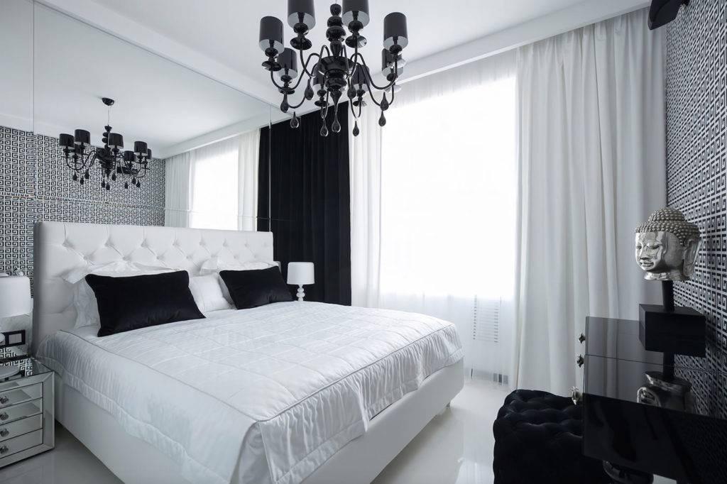 Варианты дизайна черно-белой спальной комнаты
