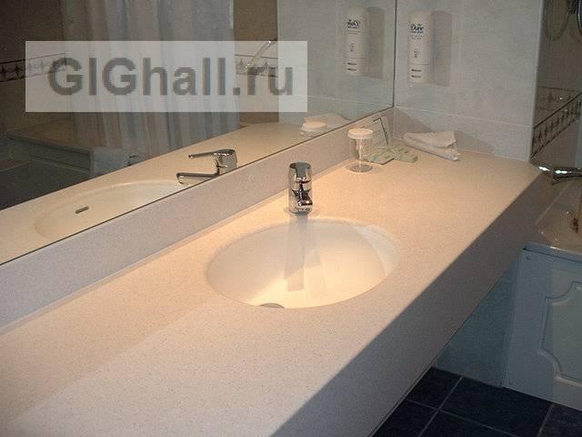 Столешница для ванной комнаты из икусственного камня — дизайн ванной комнаты