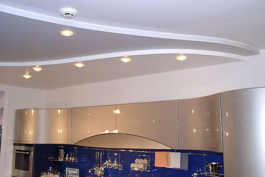 Потолок из гипсокартона на кухне (8 фото)