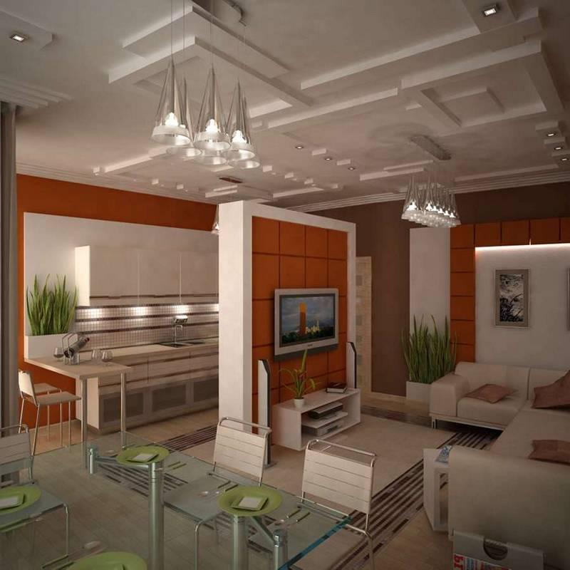 Секреты удачного дизайна кухни совмещенной с залом