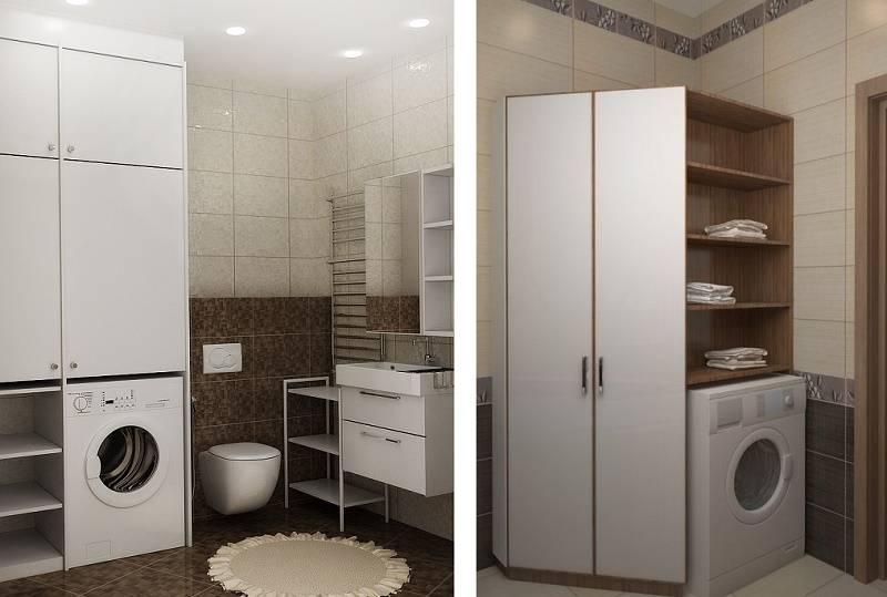 Шкафы для стиральной машины в ванной: виды, рекомендации по выбору