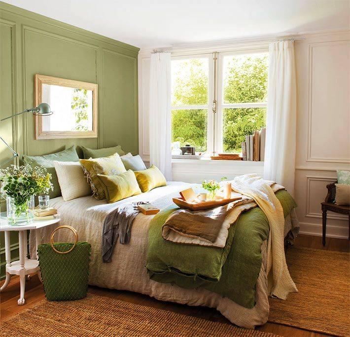 Дизайн спальной комнаты в зеленых тонах с фото