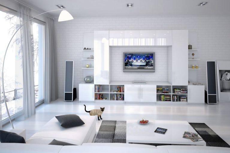 Белые стенки в гостиную (32 фото): модели с черно-белым глянцем в зал, варианты белого цвета под телевизор со шкафом