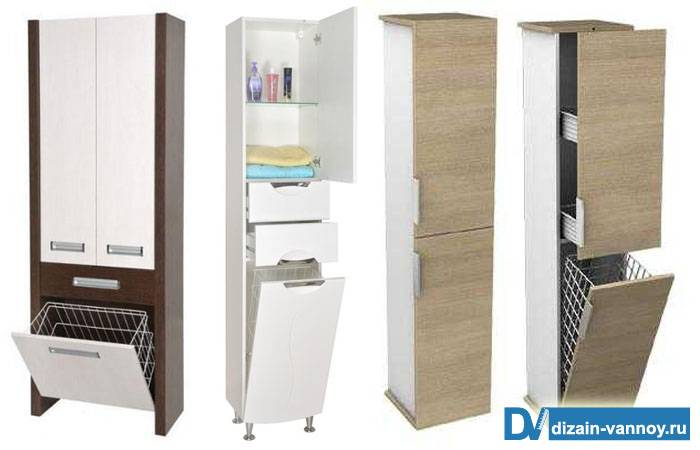 Шкаф в ванную комнату напольный, с корзиной для грязного белья, дизайн с фото