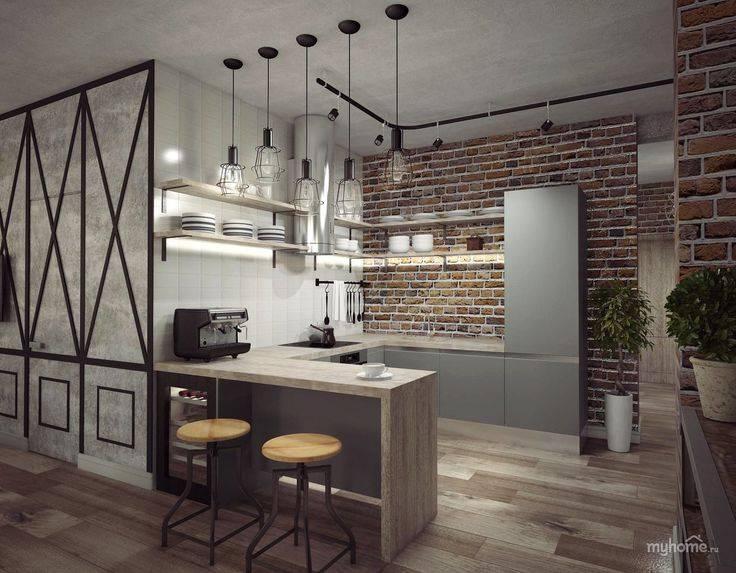 Кухня в стиле лофт: планировка, отделка, мебель, освещение
