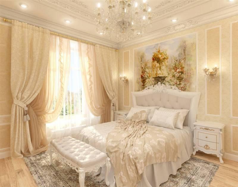 Классический стиль в спальной комнате в светлых тонах