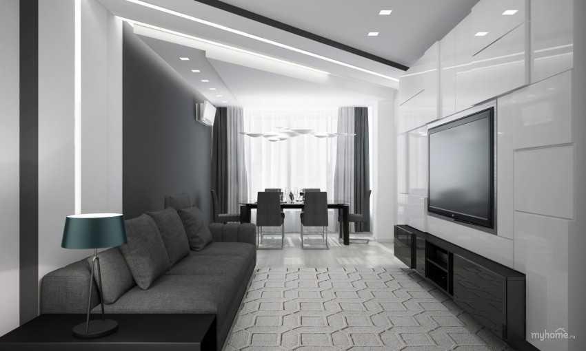 Стильно и всегда современно: оформляем интерьер гостиной в чёрно-белых тонах