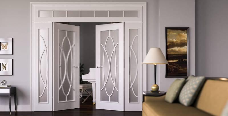 Распашные межкомнатные двери  (58 фото): двойные стеклянные модели, размеры двустворчатых дверей
