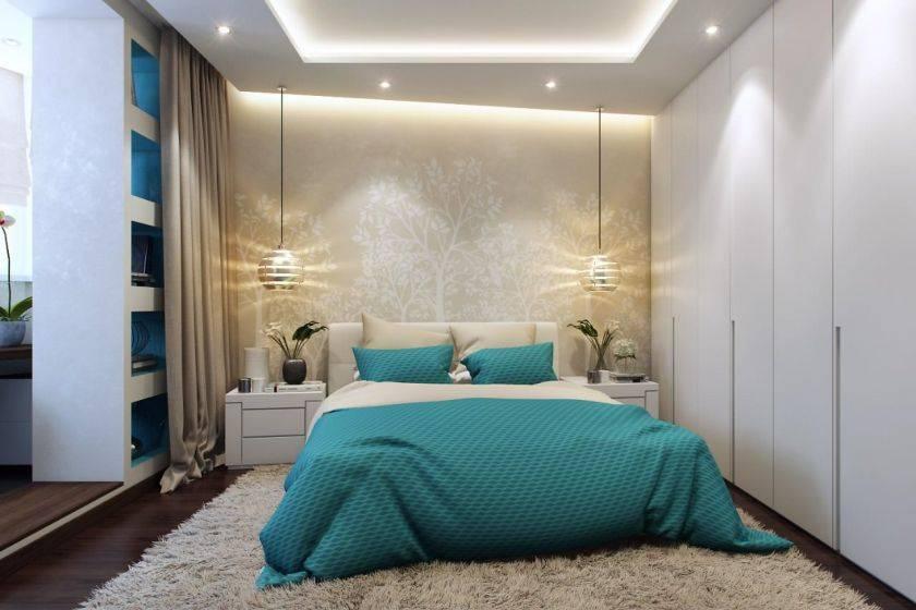 Дизайн спальни 15 квадратных метров, современный стиль с балконом