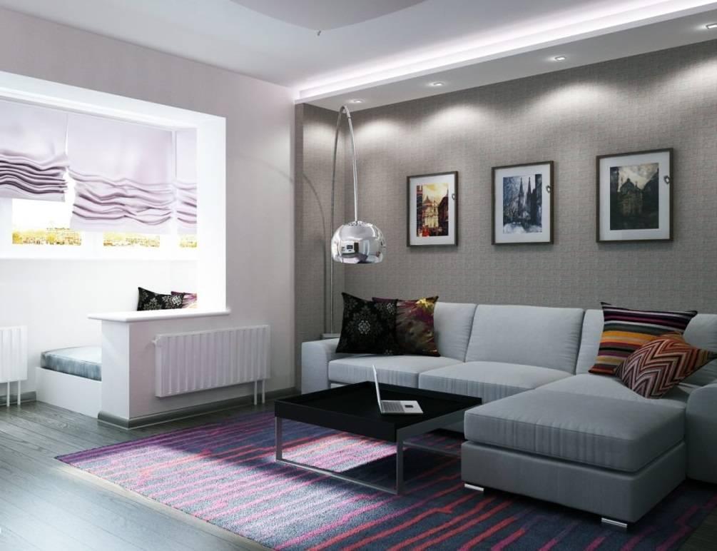 Оригинальный интерьер гостиной 18 кв. метров - фото идеи