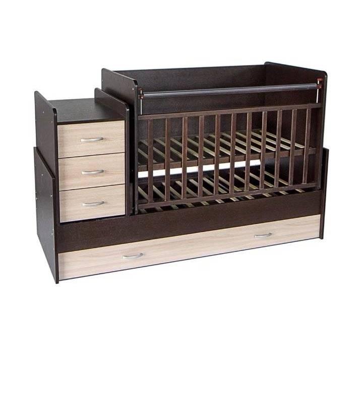 Кроватка с пеленальным столиком для новорожденных: трансформер с комодом и маятником детская - как собрать