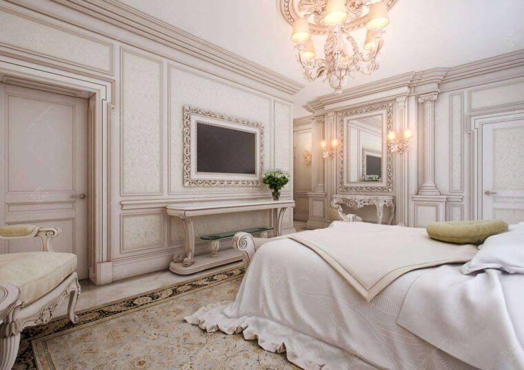 Оформление спальни в классическом стиле в светлых тонах