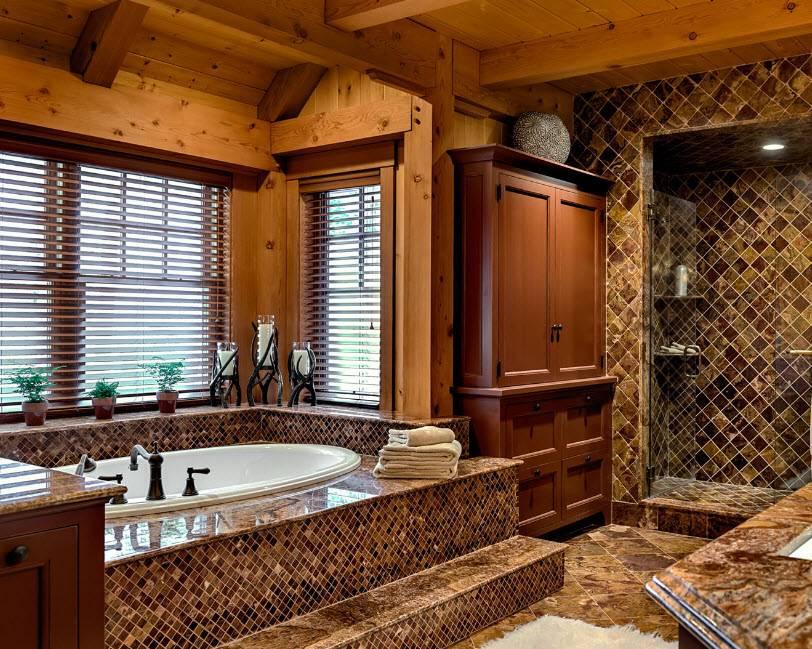Ванная в деревянном доме — особенности отделочных работ и варианты обработки древесины (125 фото)