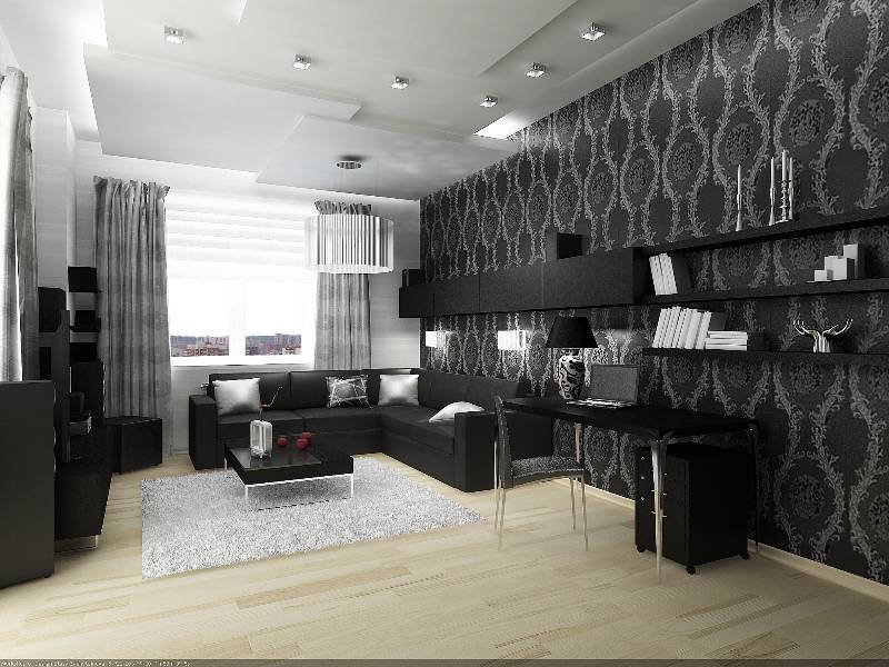 Черно-белый интерьер гостиной: современные решений дизайна с яркими акцентами