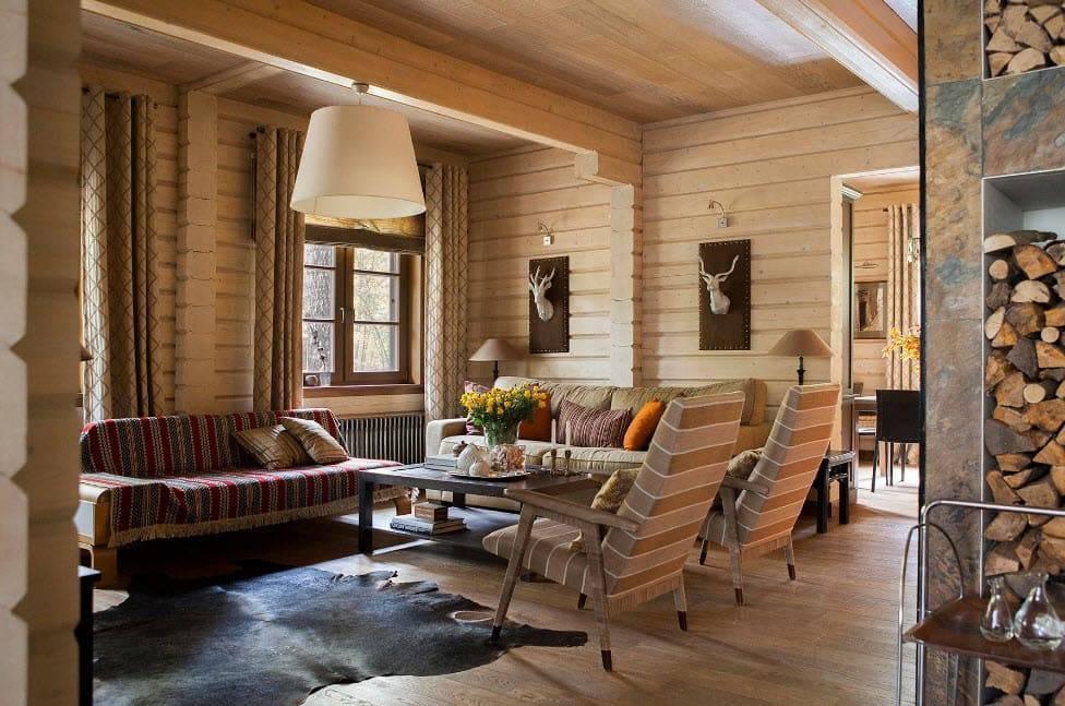 Интерьер деревянного дома: цвета, материалы, декор