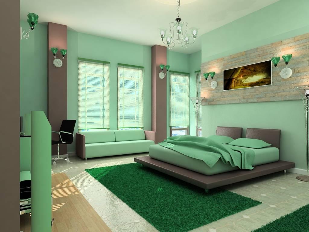 Спальня в зеленых тонах - мода или веление сердца
