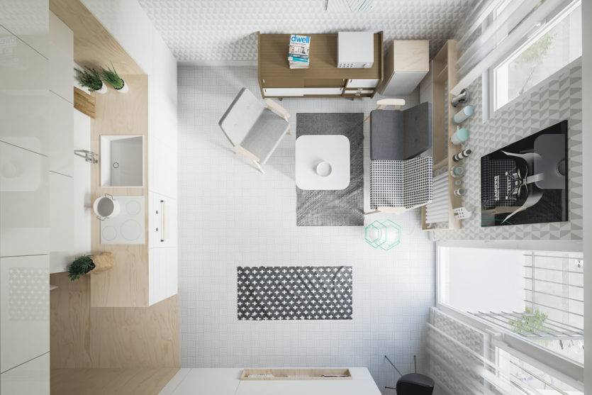 Дизайн квартиры 50 кв м, планировка и интерьер - фото примеров