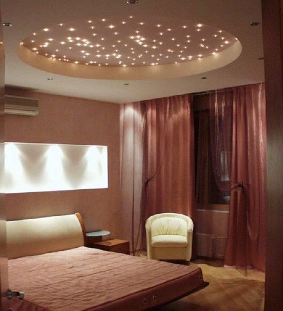 Схема расположения точечных светильников на потолке.
