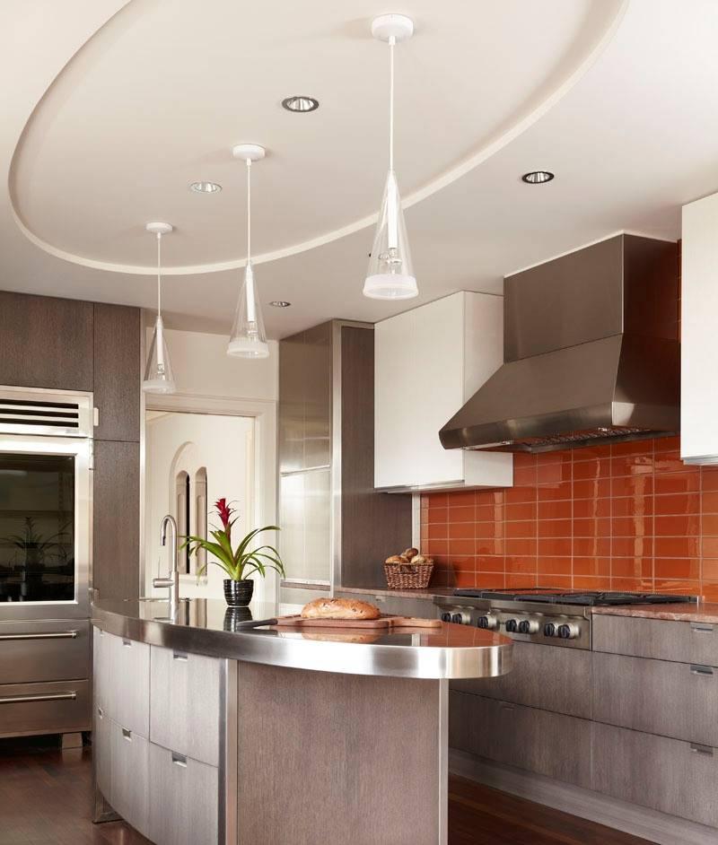 Варианты дизайна потолка из гипсокартона на кухне