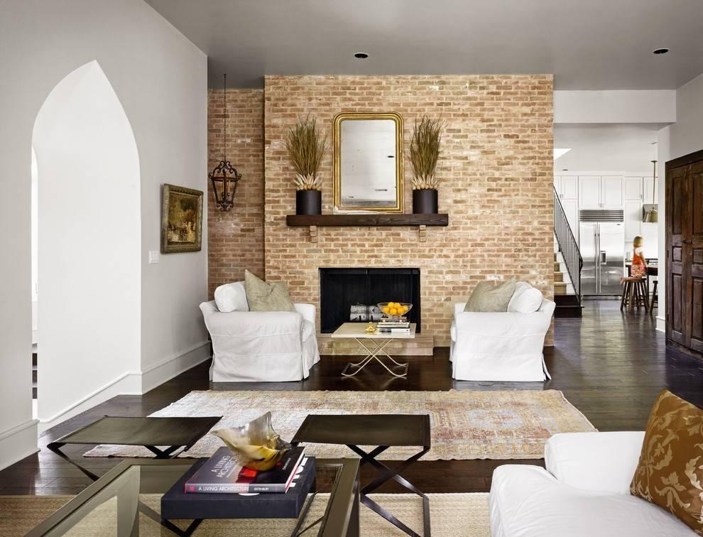 Кирпич в гостиной (47 фото) - как отделать стену кирпичом и обоями под кирпич?   дизайн и интерьер