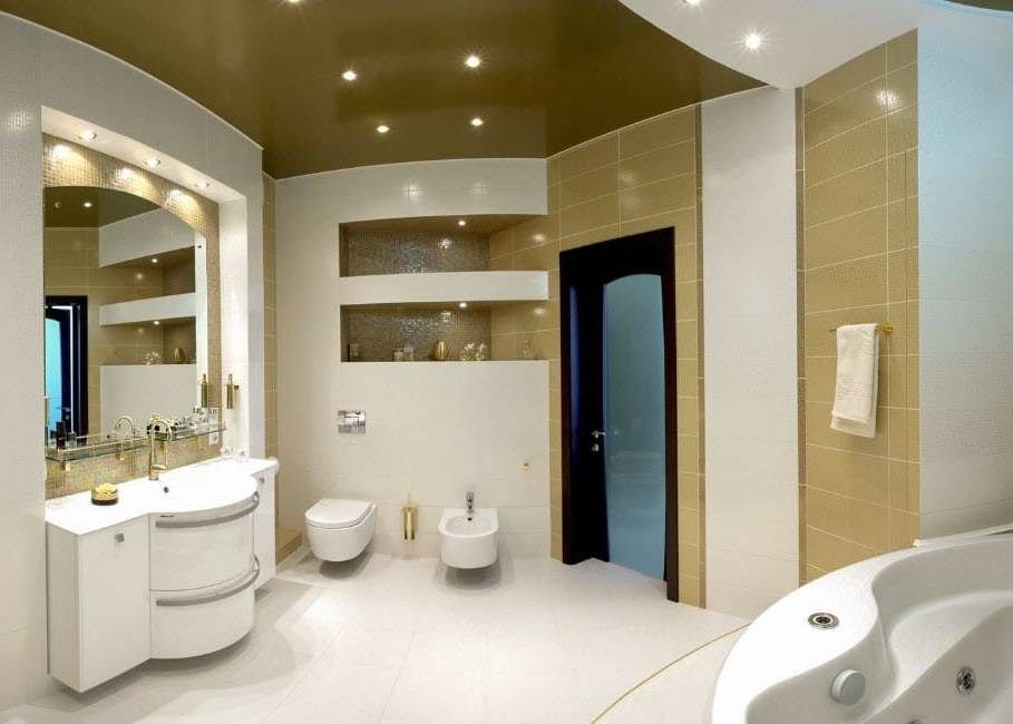 Потолок в ванной комнате: пвх или натяжной, фото обзор