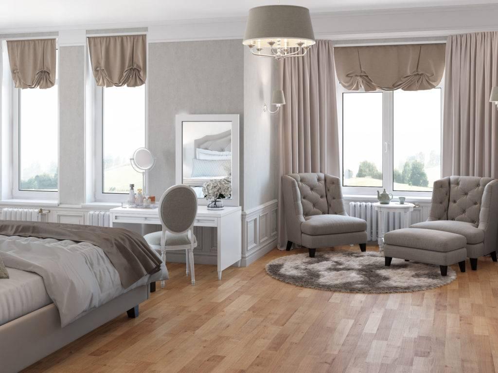 Спальня с двумя окнами на одной и разных стенах - «интерьер спальни»
