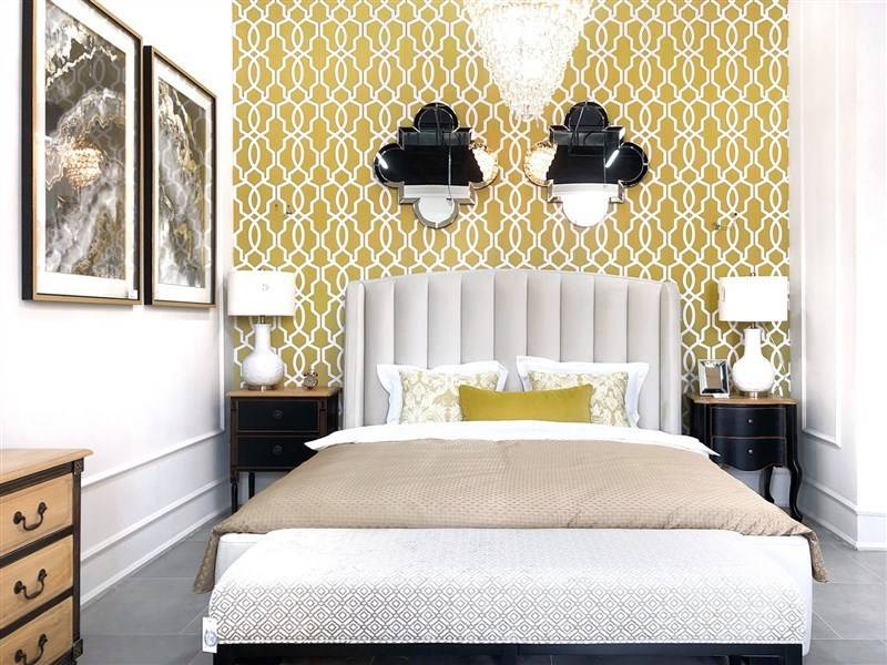 Модные комбинированные обои для спальни 2020