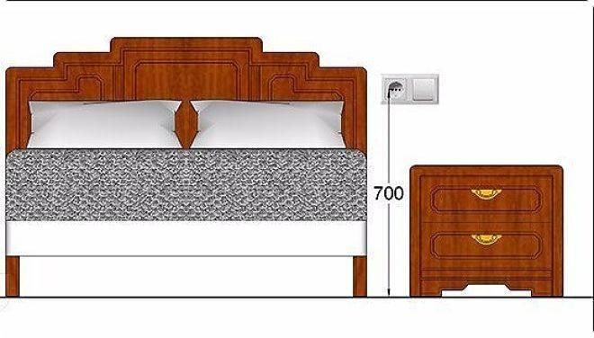 Розетки в спальне - где делать? расположение у кровати и над тумбочкой, выбор места размещения (фото примеры)