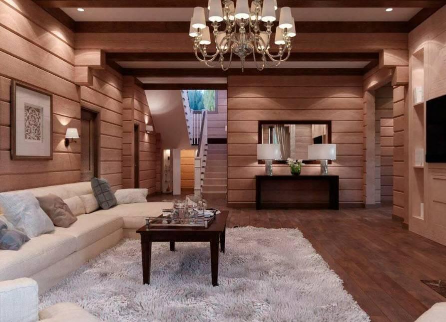 Использование дерева в современном интерьере гостиной