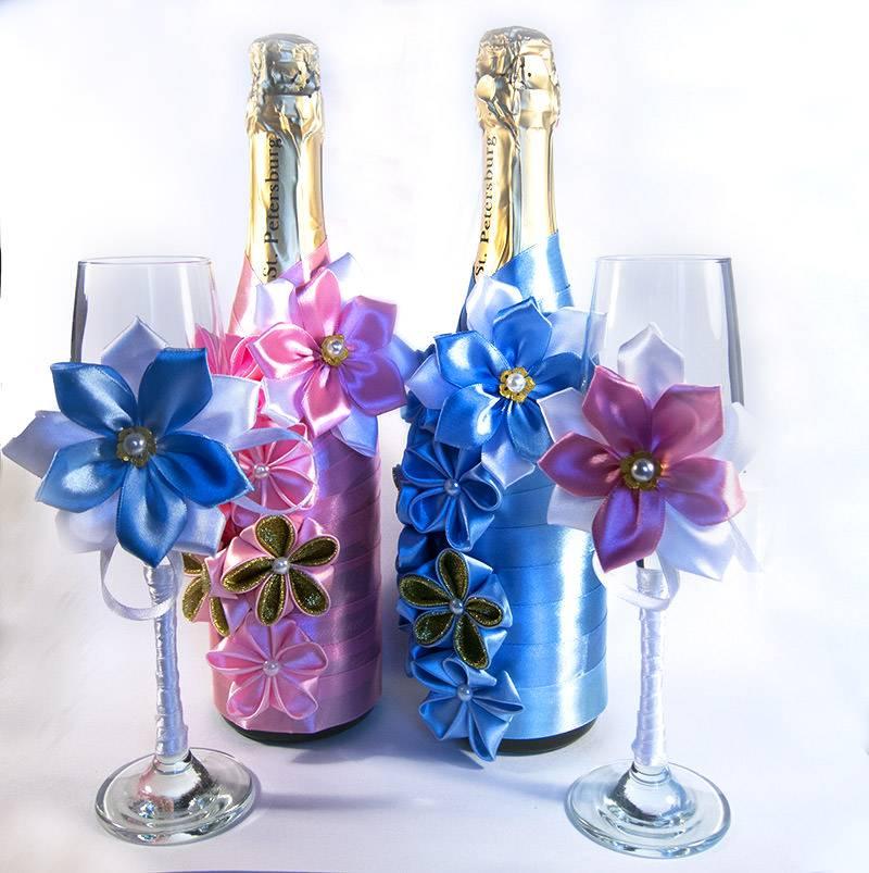 Три отличных мастер-класса для оформления свадебных бутылок шампанского своими руками