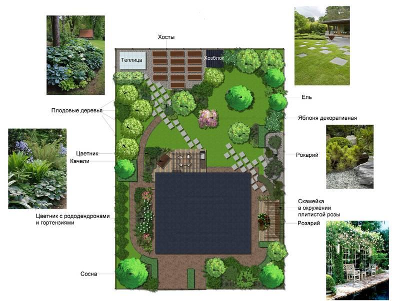 Дизайн участка 8 соток: схемы и планировки