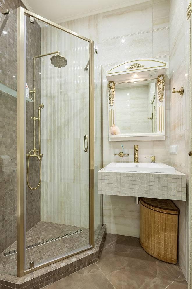 Душевая в ванной без кабины – варианты оформления маленькой комнаты - 16 фото