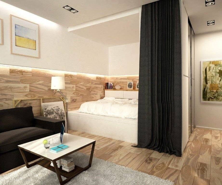 Дизайн однокомнатной квартиры 35 кв м: фото в современном стиле