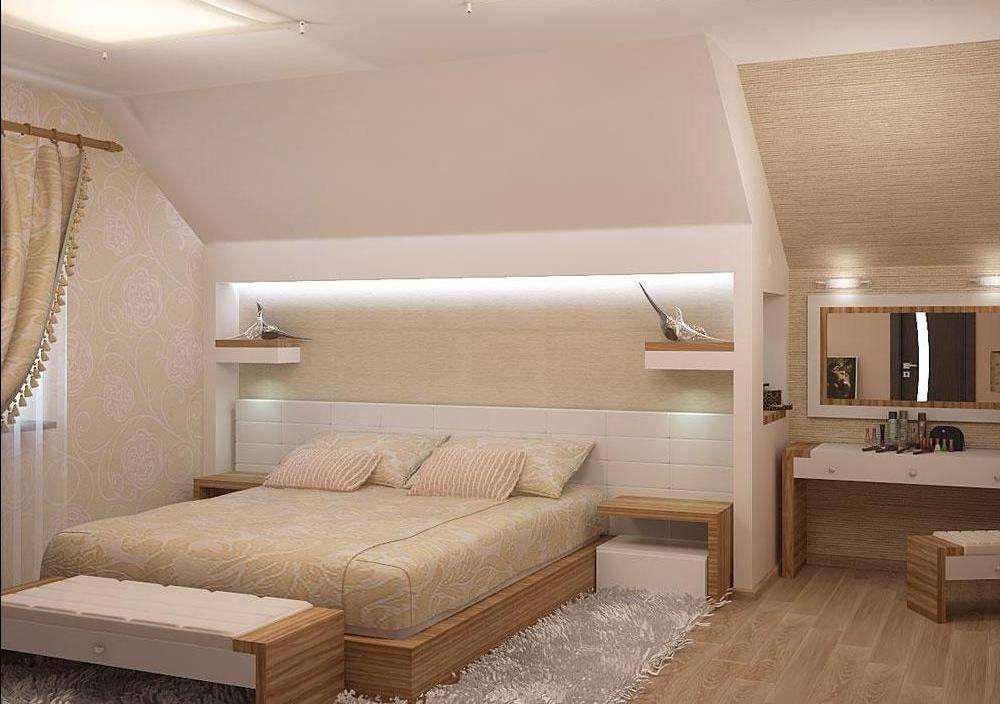 Спальня на мансарде (95 фото): дизайн интерьера комнаты на чердаке в доме со стойками, на мансардном этаже с комбинированной отделкой