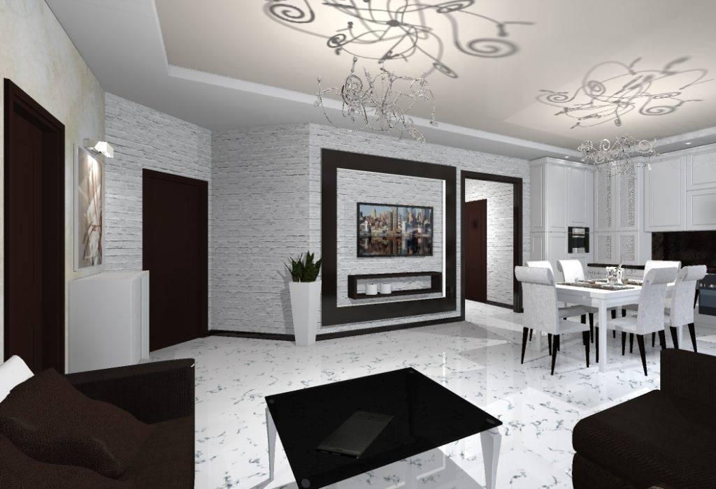 Особенности оформления интерьера гостиной в чёрно-белой цветовой гамме