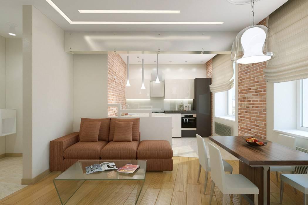 Дизайн кухни гостиной 20 кв м совмещенный, с двумя окнами:   - 37 фото