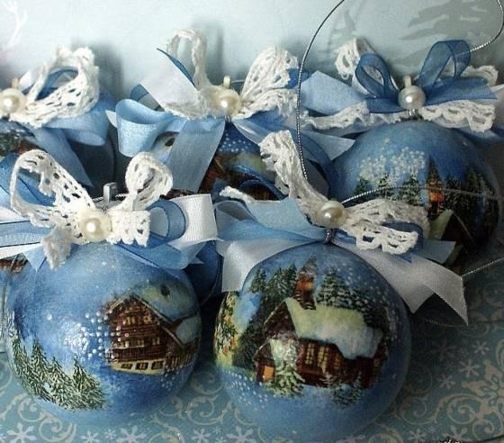 Декупаж новогодних шаров своими руками — пошаговый мастер-класс с фото примерами