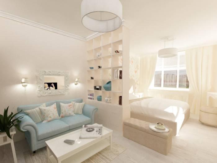 Спальня и гостиная в одной комнате: дизайн совмещенного интерьера, расстановка дивана и кровати, отделение зоны перегородкой  - 23 фото