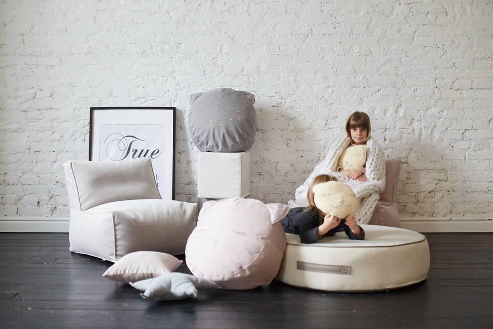 Интересные примеры дизайна детских пуфиков