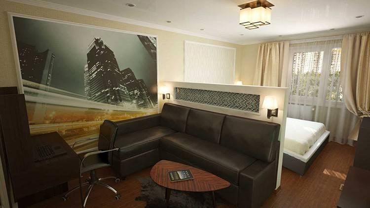 Дизайн спальни гостиной в одной комнате. фото зонирование на две зоны
