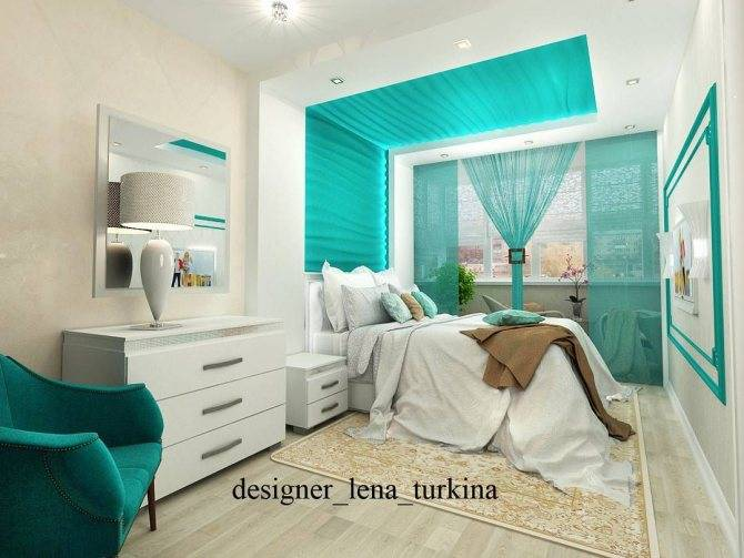 Дизайн спальни в зеленых тонах и бирюзовых, фото интерьеров