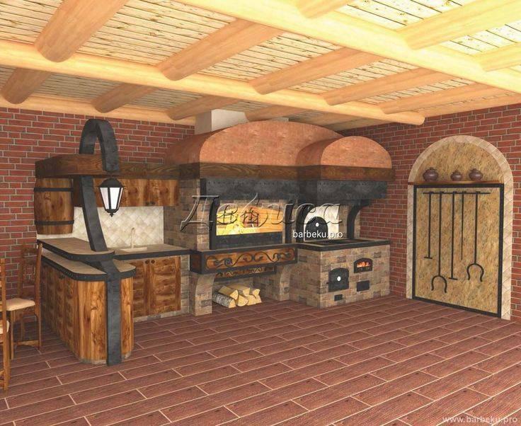 Беседки с мангалом, барбекю и печкой в современном загородном доме