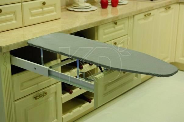 Встраиваемая гладильная доска (33 фото): выдвижная складная доска, встроенная в шкаф и механизмы скрытого откидного приспособления