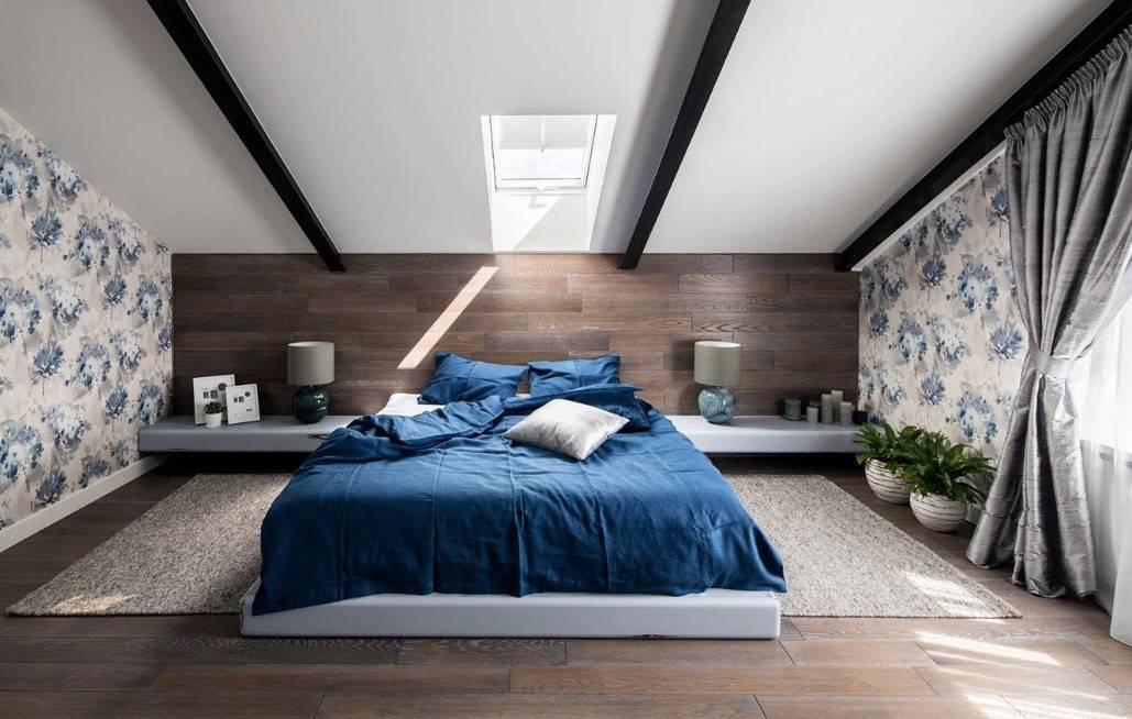 Дизайн современной спальни на мансарде: 35 фото примеров - «интерьер спальни»