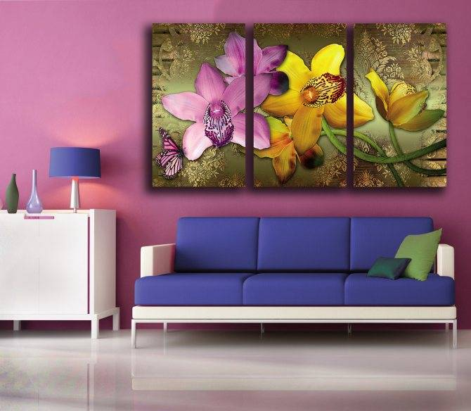 Схемы размещения картин на стене -